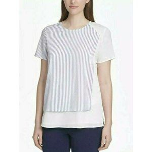 DKNY Blouse White Blue Striped Short Sleeve Top